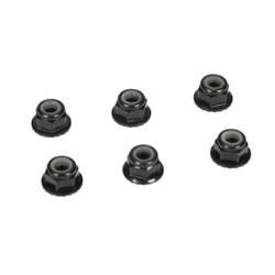 4mm Aluminum Serrated Lock Nuts, Black (6) TLR336000