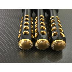 FINO-21 Lot de 3 tournevis RSRC à douille pour écrous US LOSI, acier Tungsten traité or RSRC RSRC