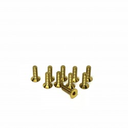 M3x10 Tapered head screws (x10) Titanium Grade 5 Gold coated