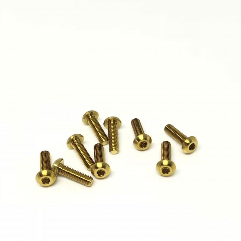 M3x10 Buttonhead screws (x10) Titanium Grade 5 Gold coated