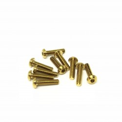 M3x14 Buttonhead screws (x10) Titanium Grade 5 Gold coated
