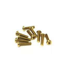 M3R14 M3x14 Buttonhead screws (x10) Titanium Grade 5 Gold coated  RSRC