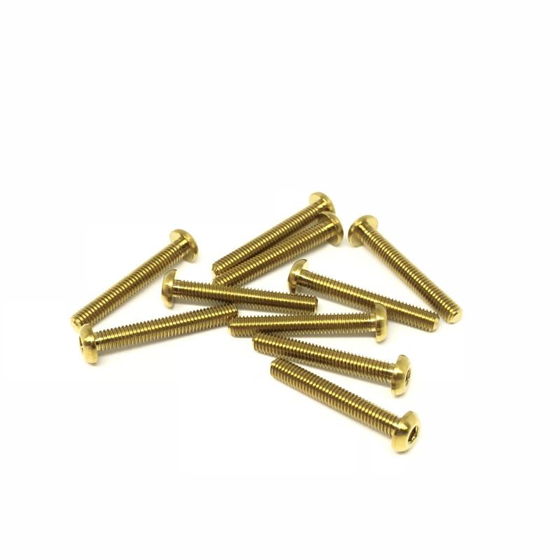 M3x22 Buttonhead screws (x10) Titanium Grade 5 Gold coated