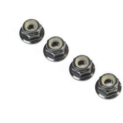 Black Alum Flanged Locknut, M4 x 0.7mm x 7mm (4) TLR236009