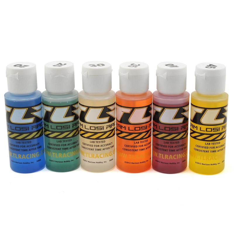 Assortiment de 6 flacons d'huile silicone d'amortisseur 17.5,22.5,27.5,32.5,37.5, 42.5 en 60ml