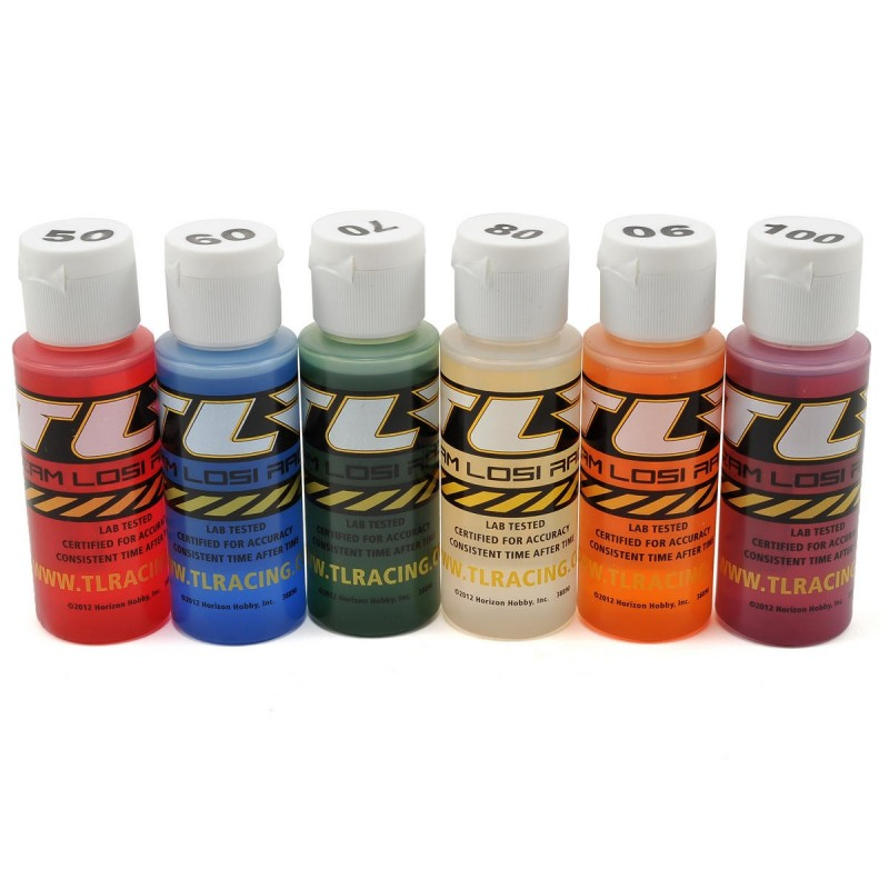 TLR74021 Team Losi Racing Silicone Shock Oil Six Pack (50, 60, 70, 80, 90, 100wt) (60ml)  RSRC
