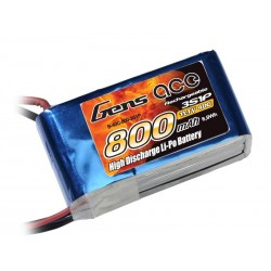 Gens ace Battery LiPo 3S 11.1V-800-40C(JST) 60x30x20mm 70g GE1-0800-3J