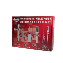Nitro starter kit. Fuel bottle, glow igniter, wheel wrench and tools