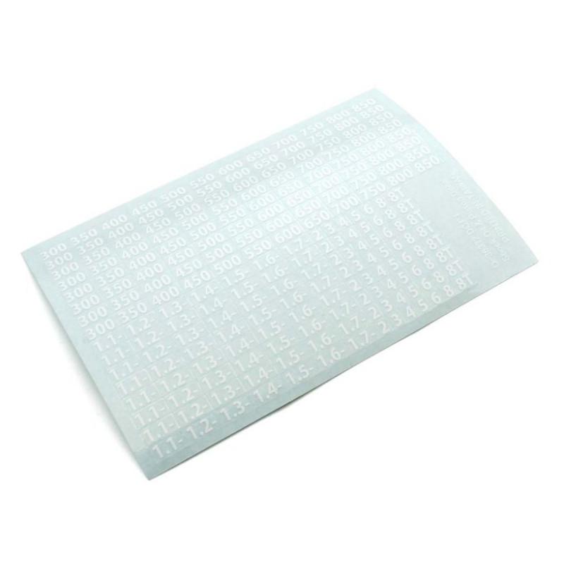 Planche d'autocollants viscosité amortisseurs (Blanc) Kyosho 36372W
