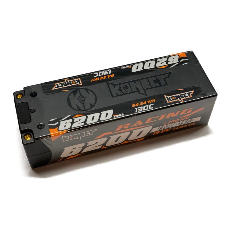 Batterie Konect Lipo 6200mah 15.2V 130C Low Profile (LCG) buggy brushless 1/8