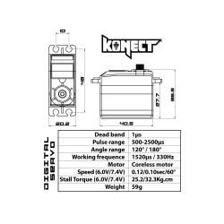 Speed and torque HV Brushless Digital servo 32kg-0.10s Racing series KN-3210HVRX