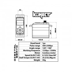 Couple, vitesse Servo Konect Digital HV 32kg-010s série Racing KN-3210HVRX