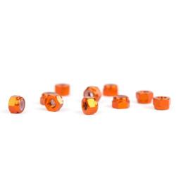 M3 Orange Aluminum Nylon nuts (10)