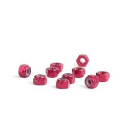M3 Red Aluminum Nylon nuts (10)