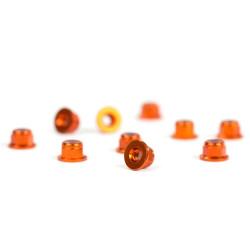 M3 Flanged Orange Aluminum Nylon nuts (10)