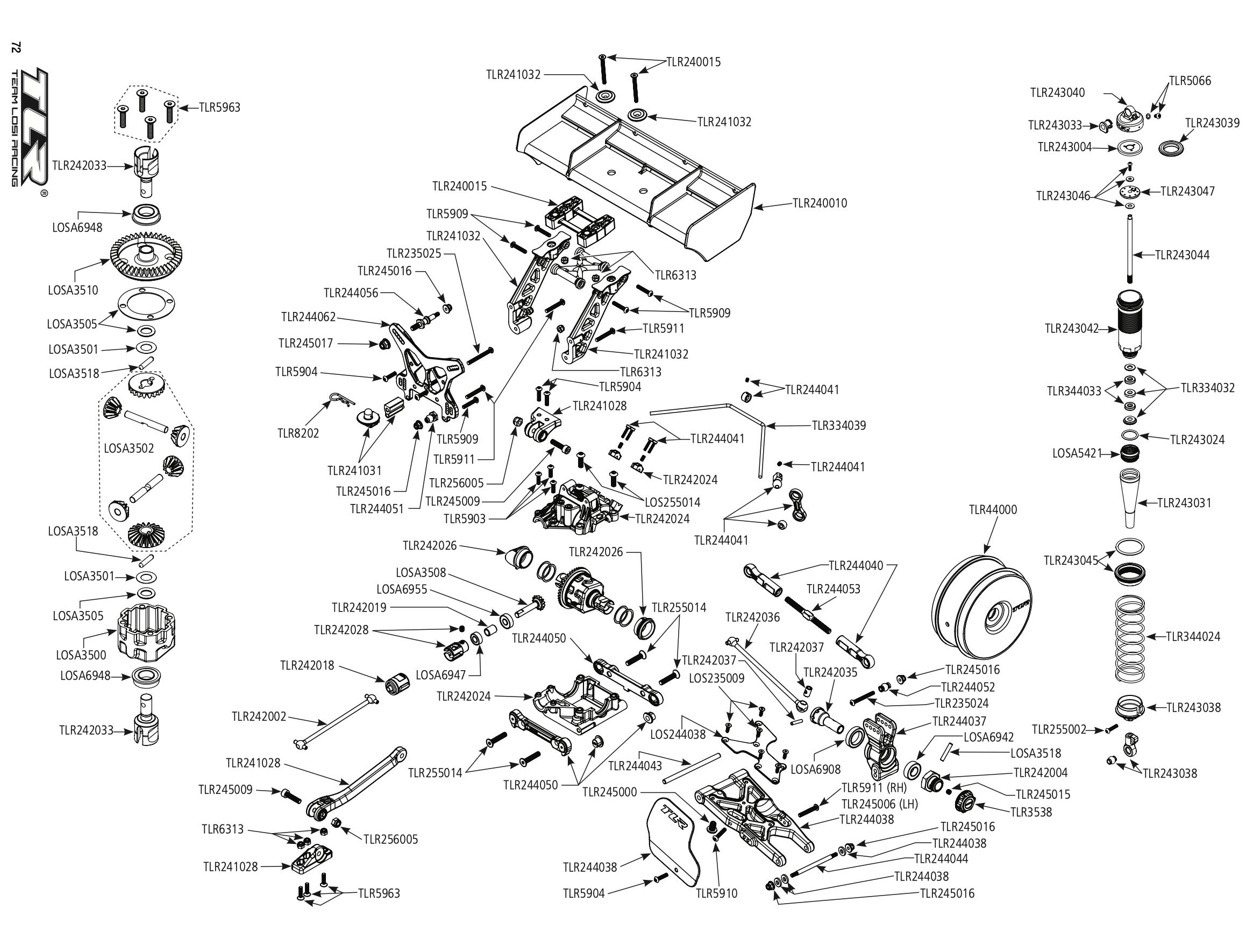 Vue éclatée, liste des pièces détachées TLR 8X